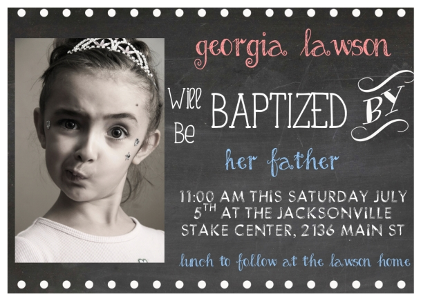 Custom Girl Baptism Announcement LANDSCAPE CHALKBOARD